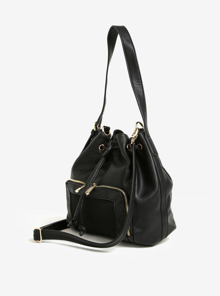 Čierna vaková kabelka s detailmi v zlatej farbe Bessie London