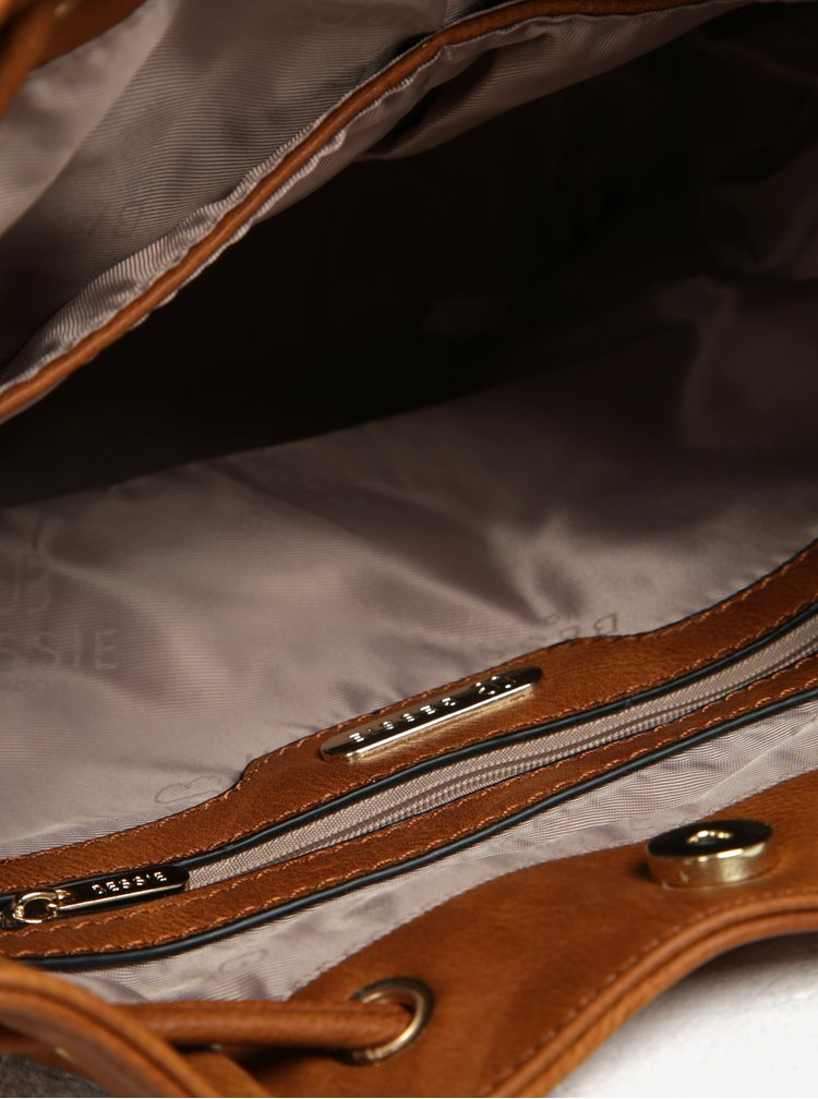 Hnedá vaková kabelka s detailmi v zlatej farbe Bessie London