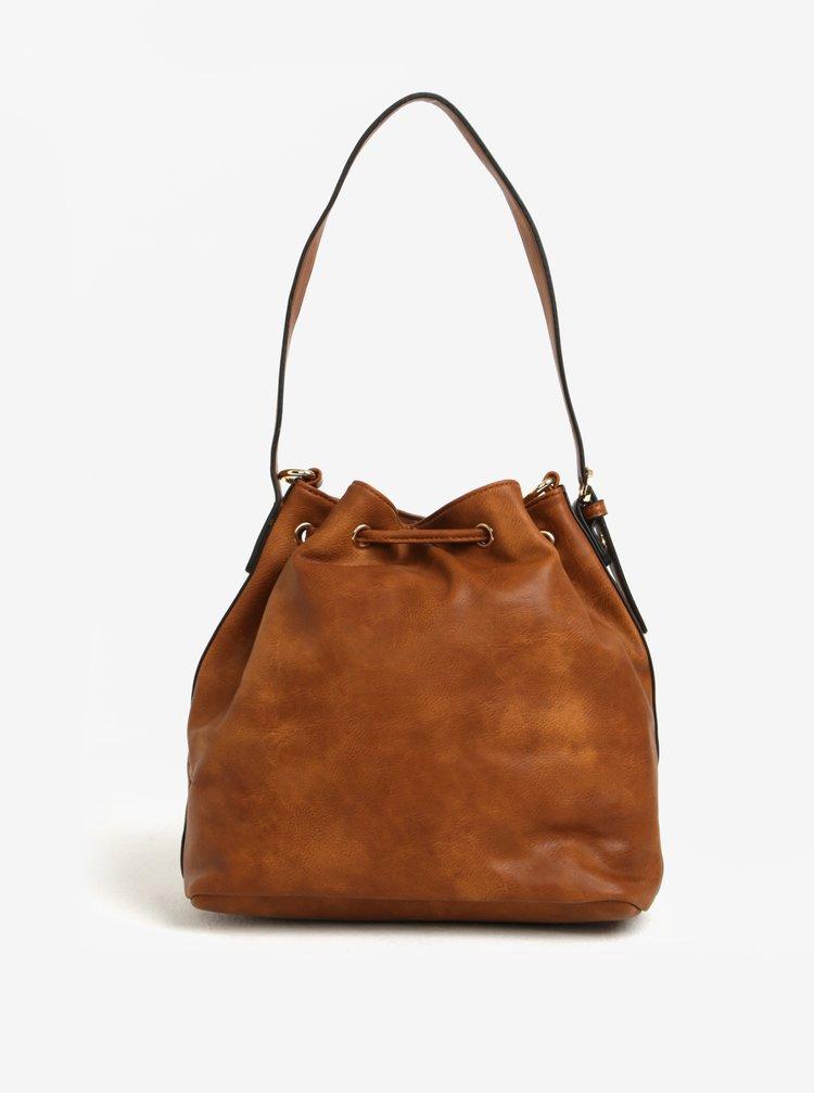 Hnědá vaková kabelka s detaily ve zlaté barvě Bessie London