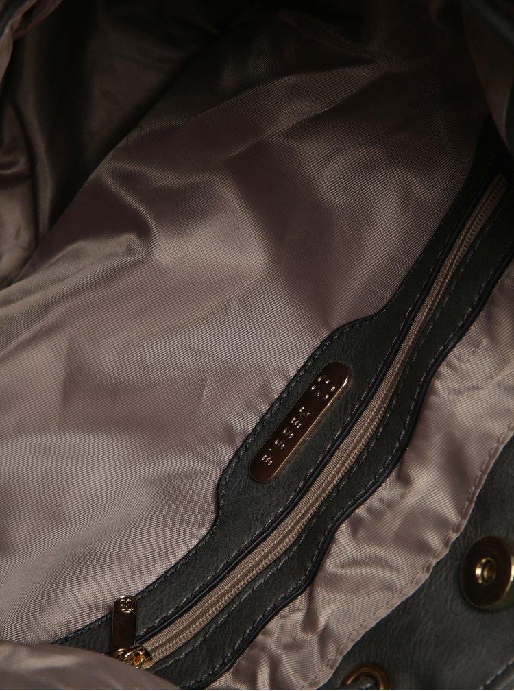 Geanta bucket gri inchis cu detalii aurii - Bessie London