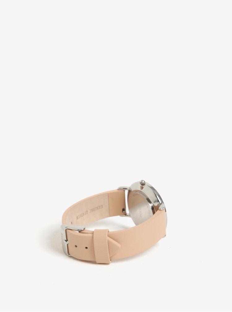 Ceas argintiu cu curea roz din piele naturala pentru femei - CLUSE