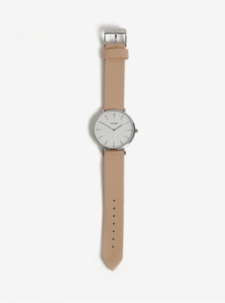 Dámské hodinky ve stříbrné barvě s růžovým koženým páskem CLUSE
