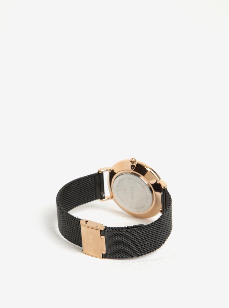 Ceas auriu cu bratara metalica neagra pentru femei - CLUSE