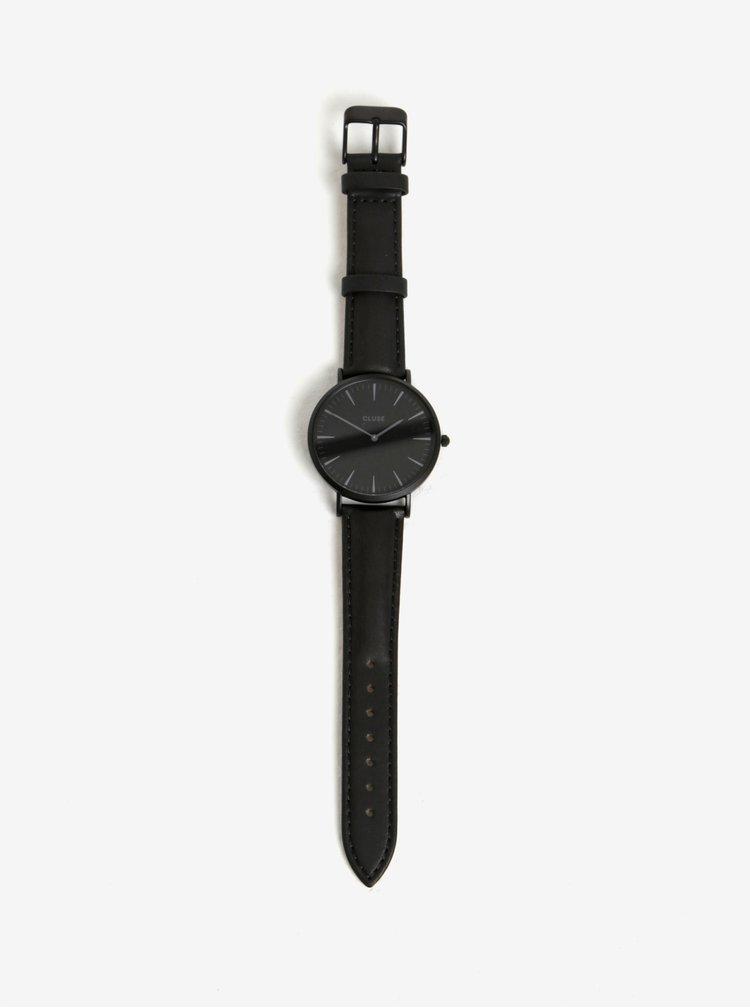 Černé dámské hodinky s vyměnitelnými koženými pásky v černé a béžové barvě CLUSE