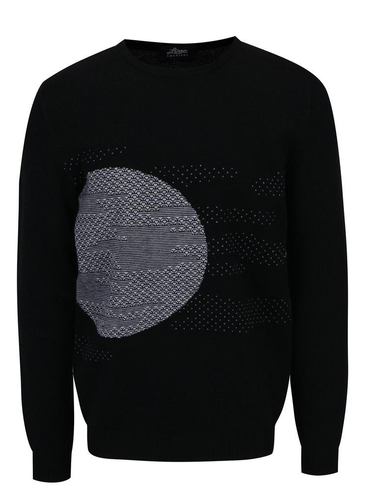 Pulover negru din lana merino cu model geometric- Live Sweaters Error On The Moon