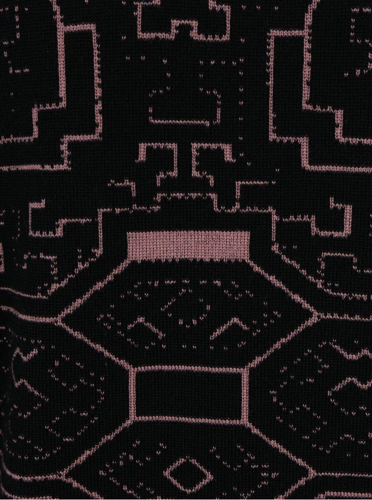Pulover negru din lana merino cu model abstract - Live Sweaters Ayahuasca