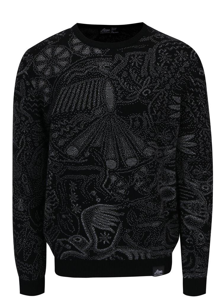 Pulover negru din lana merino cu model abstract - Live Sweaters Hikuri