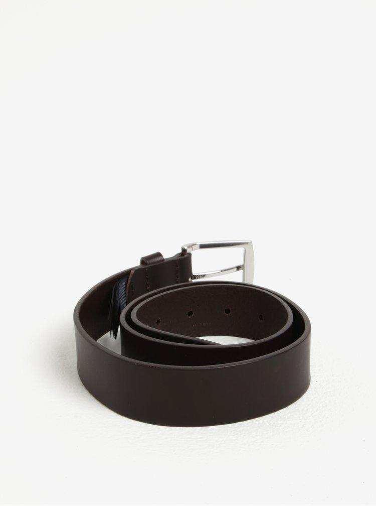 Hnědý pánský kožený široký pásek v dárkové krabičce Tommy Hilfiger Denton