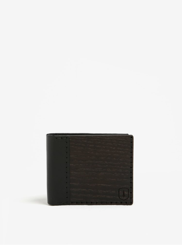 Portofel negru din lemn si piele - BeWooden Nox Tenebra