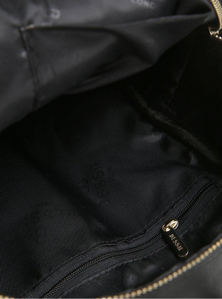 Rucsac mic negru cu detalii aurii si barete ajustabile - Bessie London