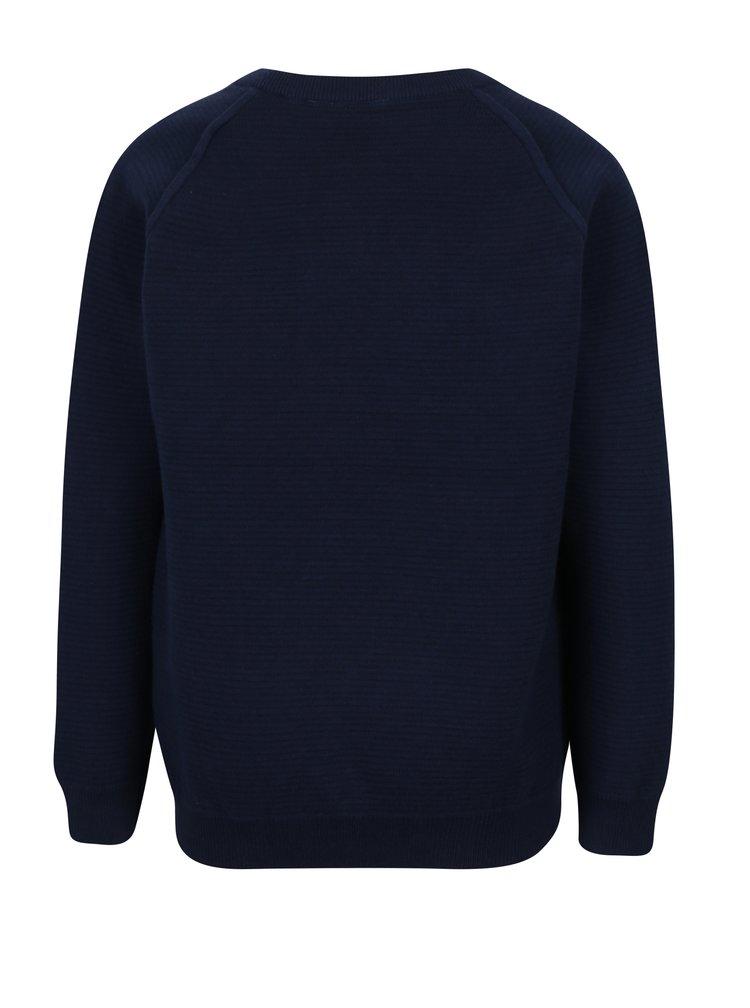Tmavě modrý klučičí žebrovaný lehký svetr Name it Iras