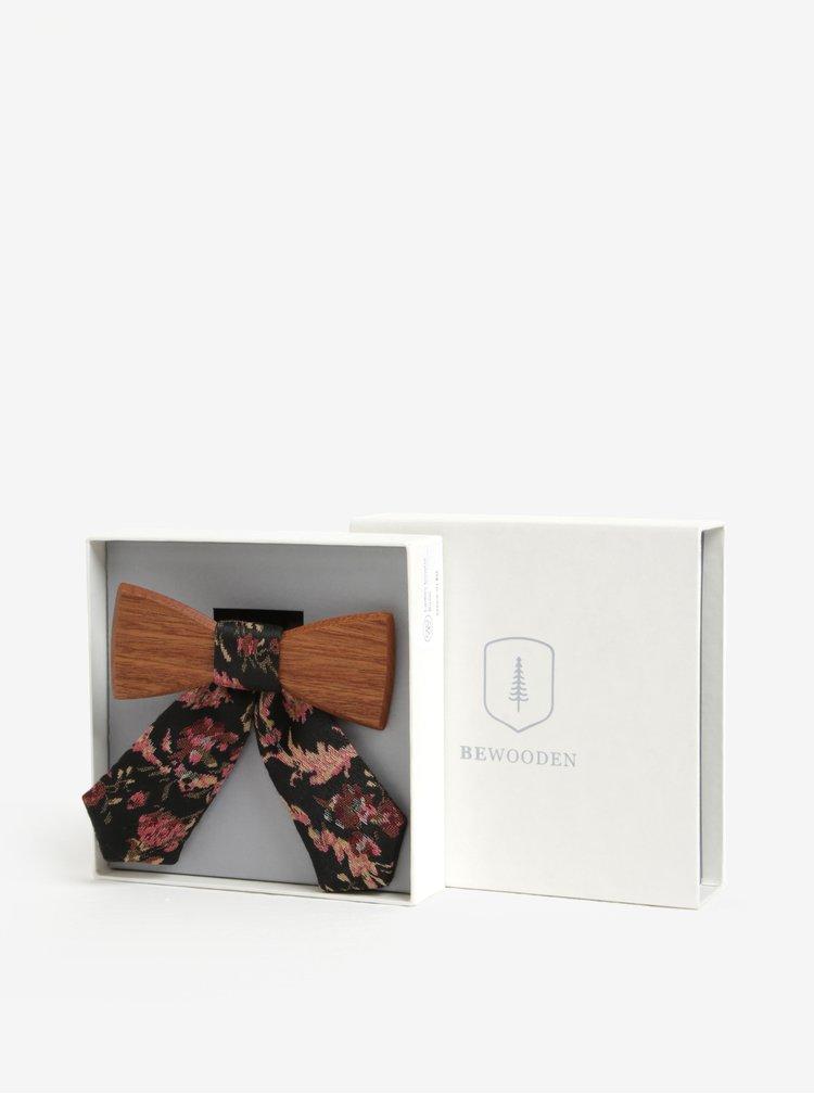 Hnědý dámský dřevěný motýlek s černou mašlí BeWooden Rosis