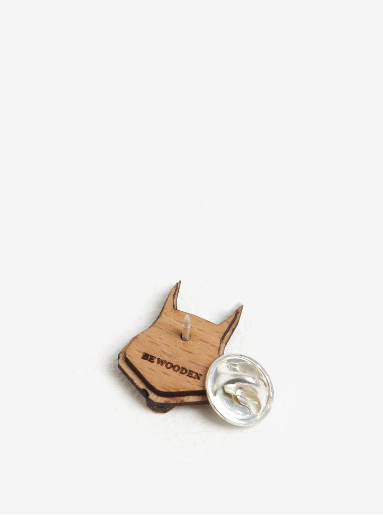 Brosa din lemn in forma de veverita - BeWooden Squirrel Brooch