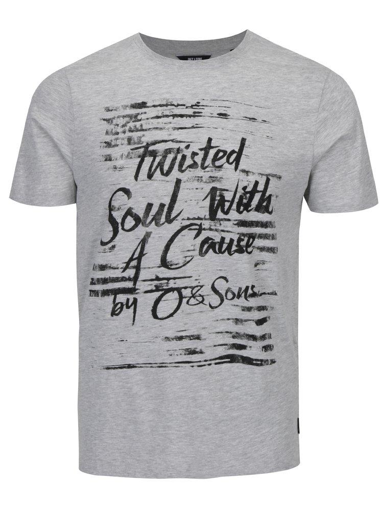 Tricou gri melanj cu mesaj - ONLY & SONS Busker