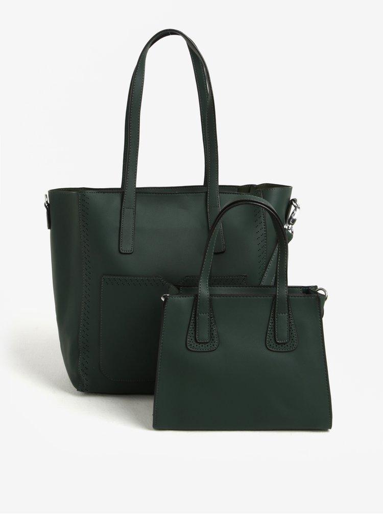 Zelená velká a malá kabelka s kapsou 2v1 Bessie London