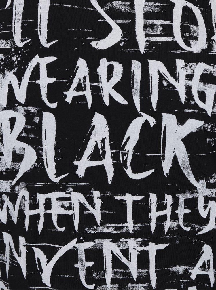 Tricou negru din bumbac cu mesaj - ONLY & SONS Busker