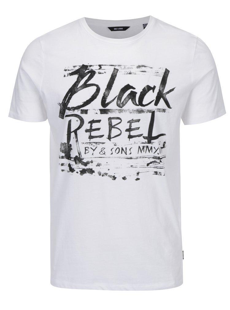 Bílé tričko s nápisem ONLY & SONS Busker