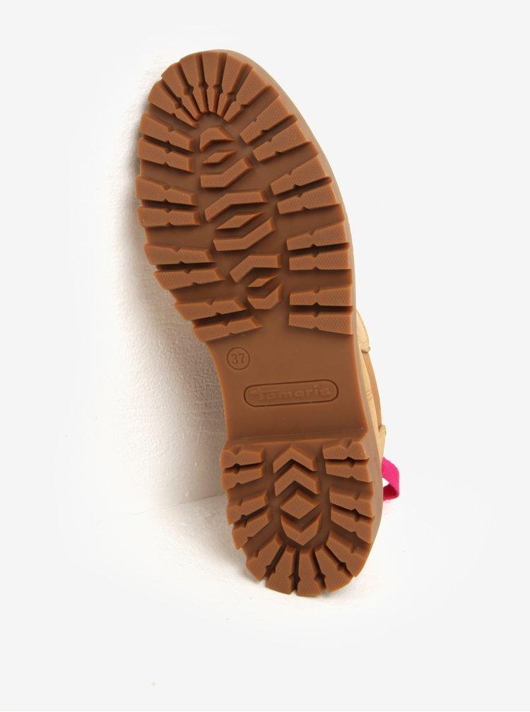 Světle hnědé kožené chelsea boty Tamaris