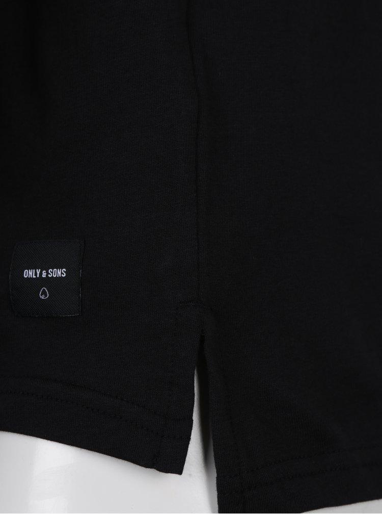 Tricou negru cu print geometric - ONLY & SONS Morgan