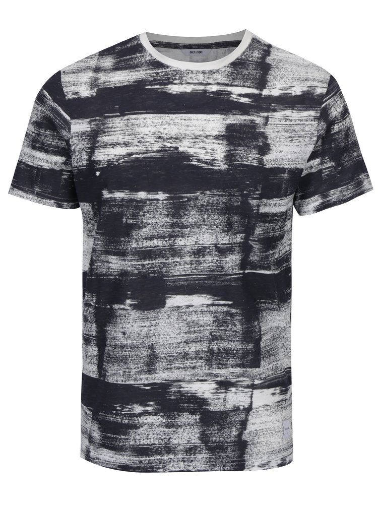 Tricou din bumbac gri inchis cu print abstract - ONLY & SONS Balder