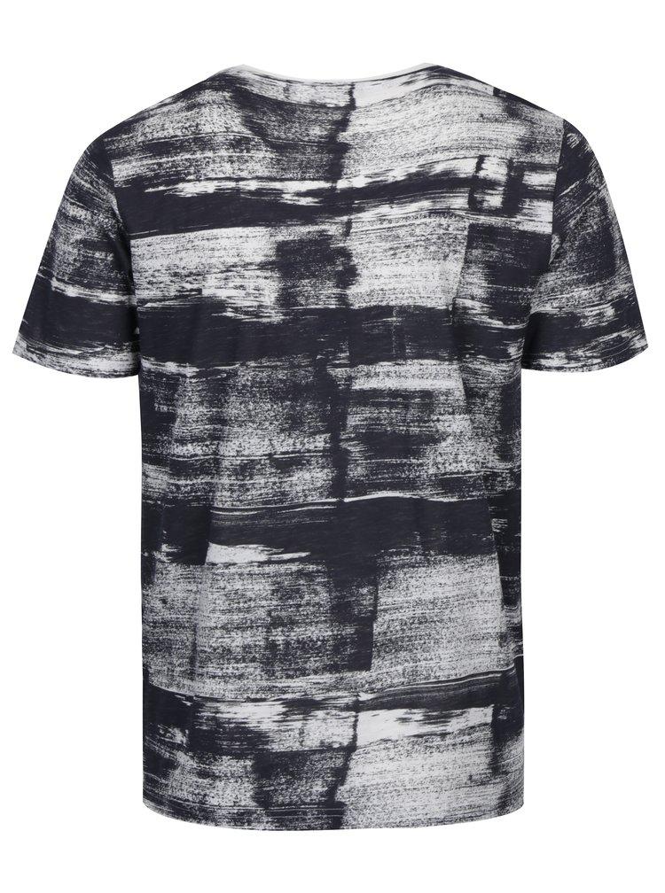 Krémovo-šedé vzorované tričko s celopotiskem ONLY & SONS Balder
