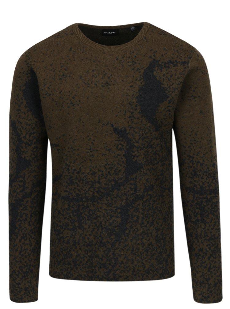 Šedo-khaki vzorovaný svetr ONLY & SONS Orville