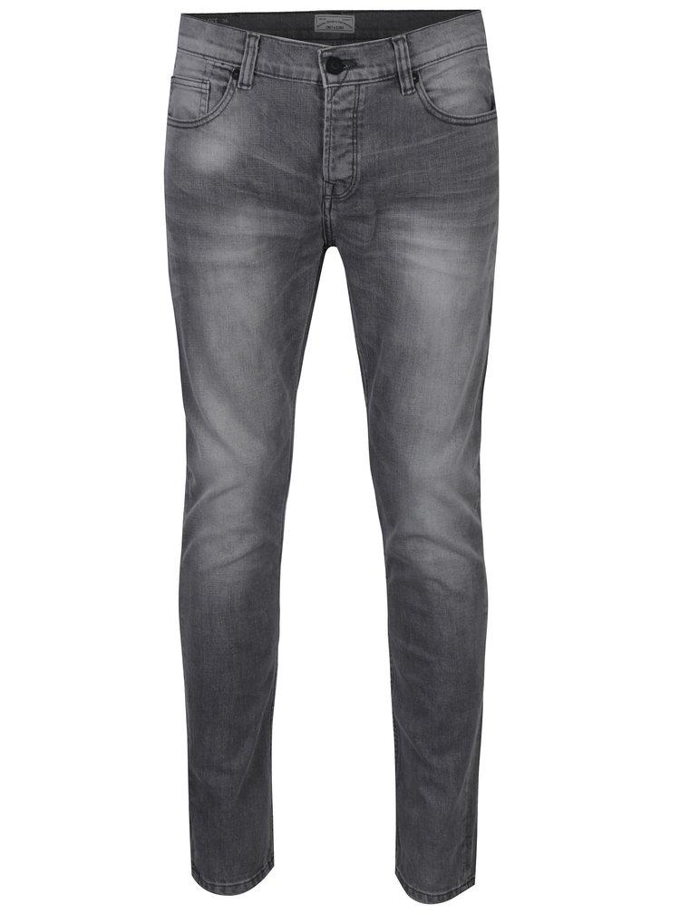 Světle šedé slim fit džíny s vyšisovaným efektem ONLY & SONS Loom