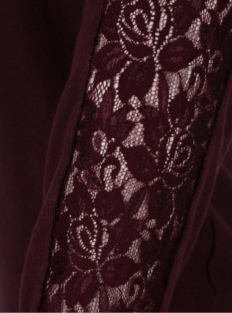 Vínový lehký svetr s krajkou Haily´s Katja