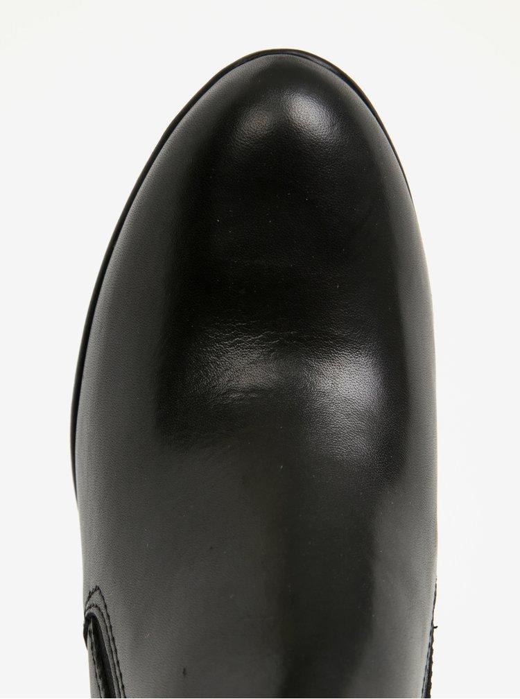 Botine negre din piele naturala cu toc si insertii elastice - Tamaris
