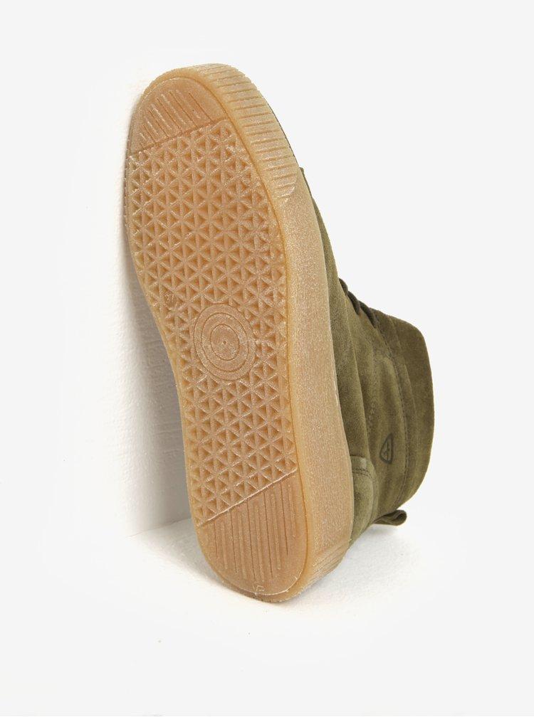 Khaki semišové kotníkové tenisky na platformě Tamaris