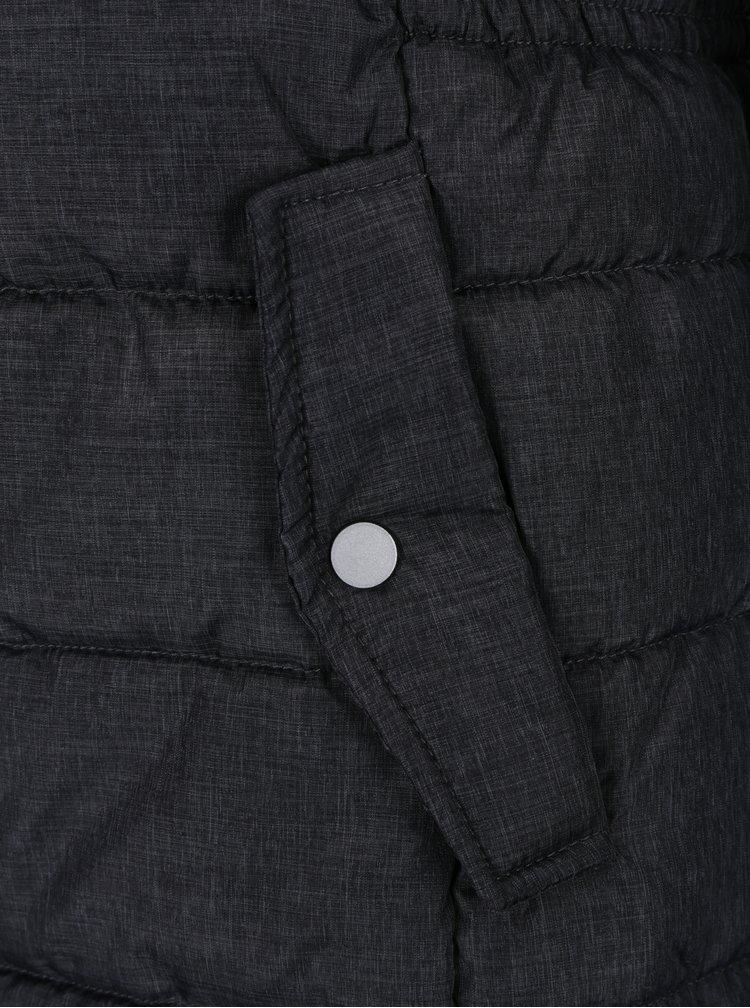 Tmavě šedá prošívaná bunda s umělou kožešinou Haily´s Anette