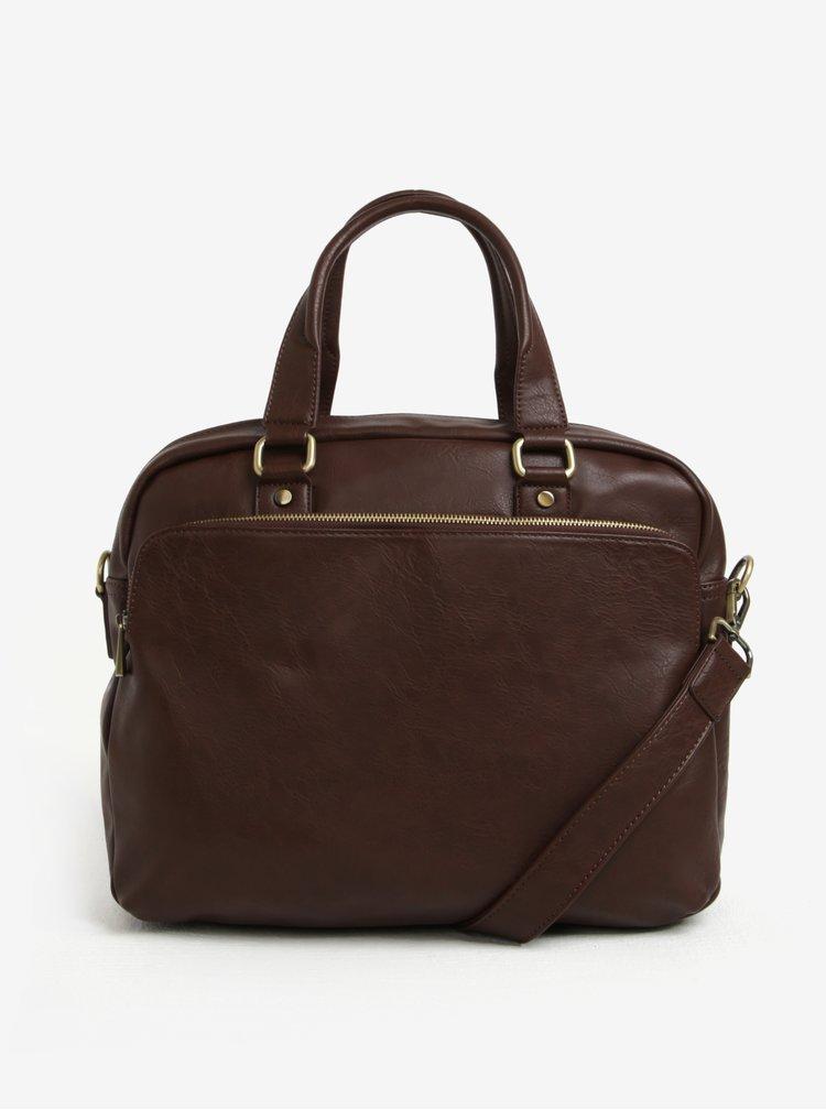 Tmavě hnědá pánská taška přes rameno s kapsou Bobby Black