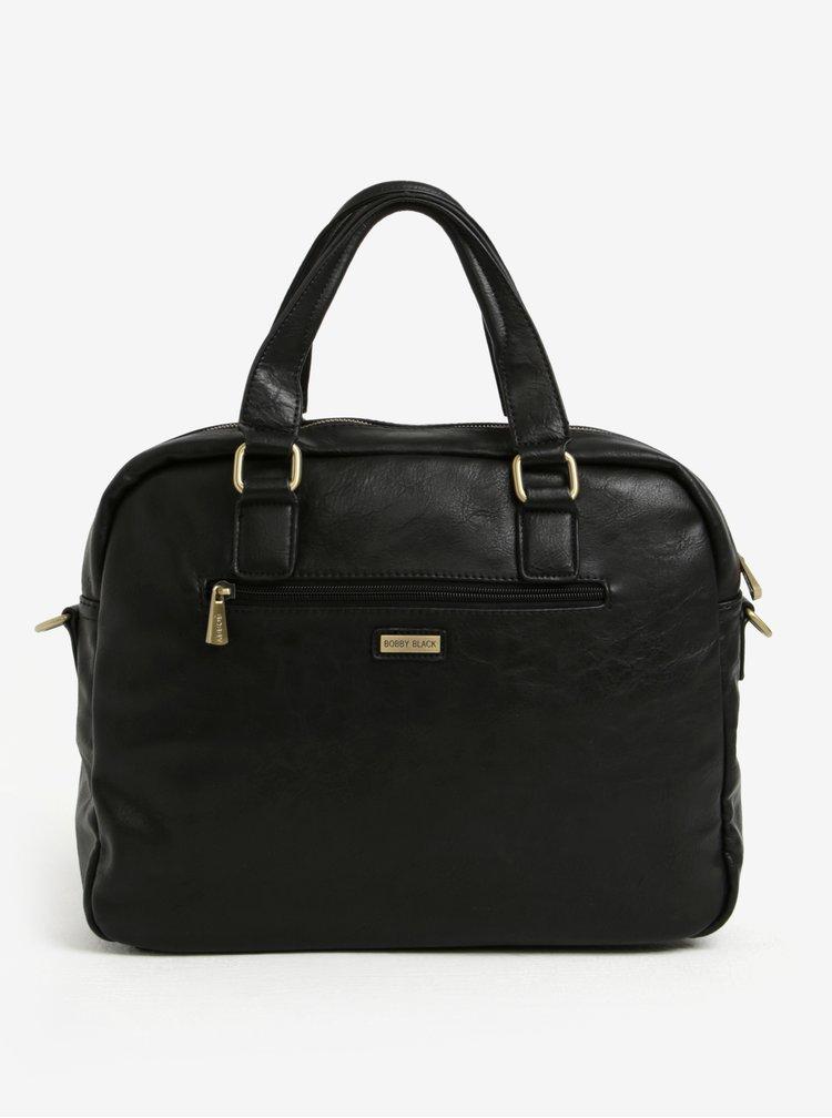 Černá hnědá pánská taška přes rameno s kapsou Bobby Black