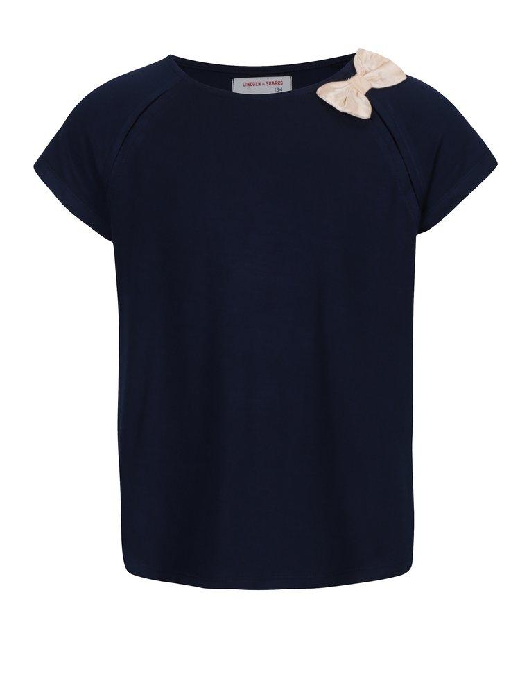 Tmavě modré holčičí tričko s růžovou mašlí 5.10.15.