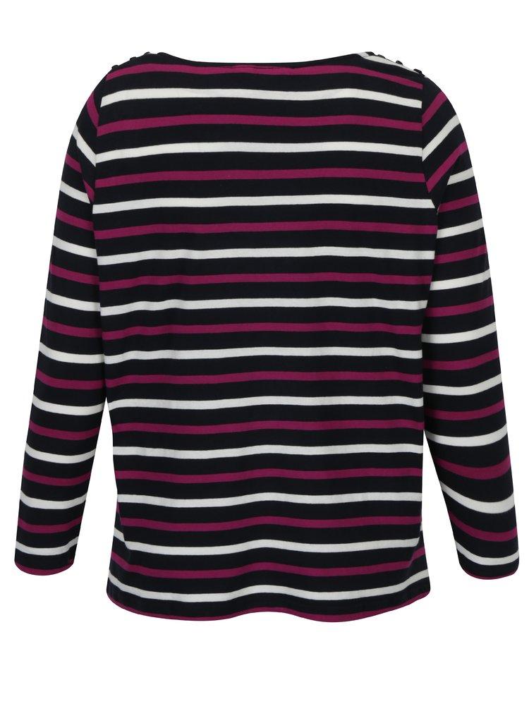 Růžovo-modré pruhované tričko Ulla Popken