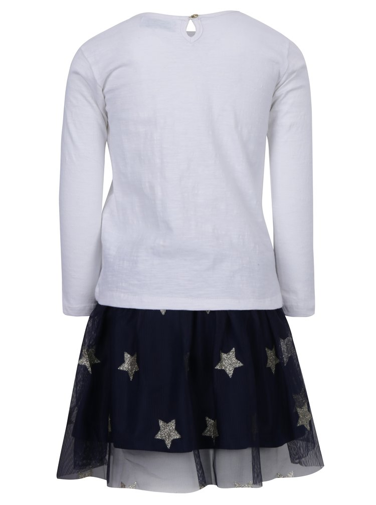Modro-bílý holčičí set sukně a trička s potiskem 5.10.15.