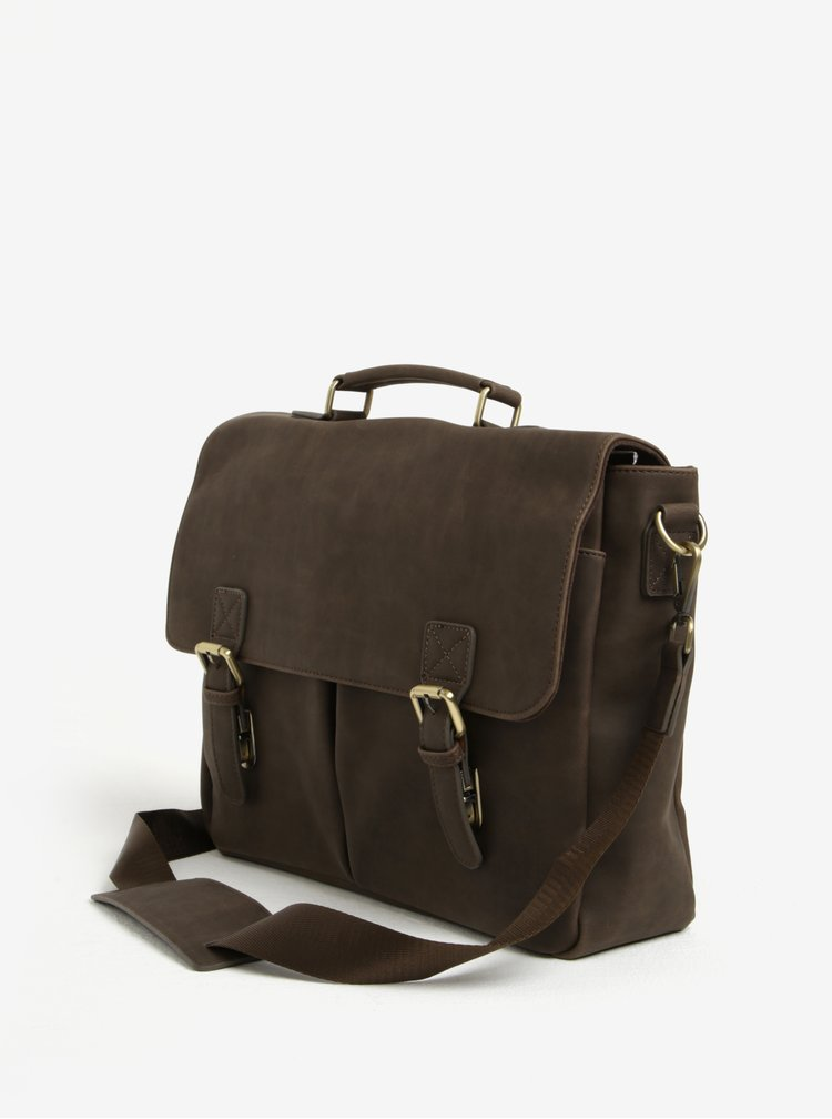 "Tmavě hnědá taška na notebook Bobby Black 15"""