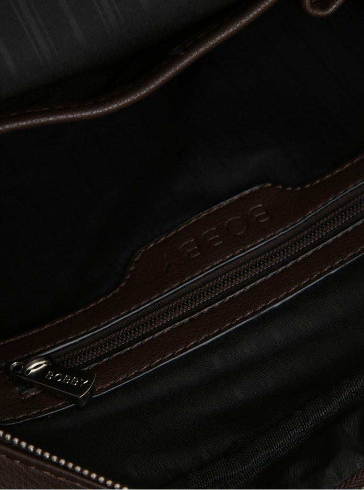Tmavě hnědá crossbody taška s kapsou Bobby Black
