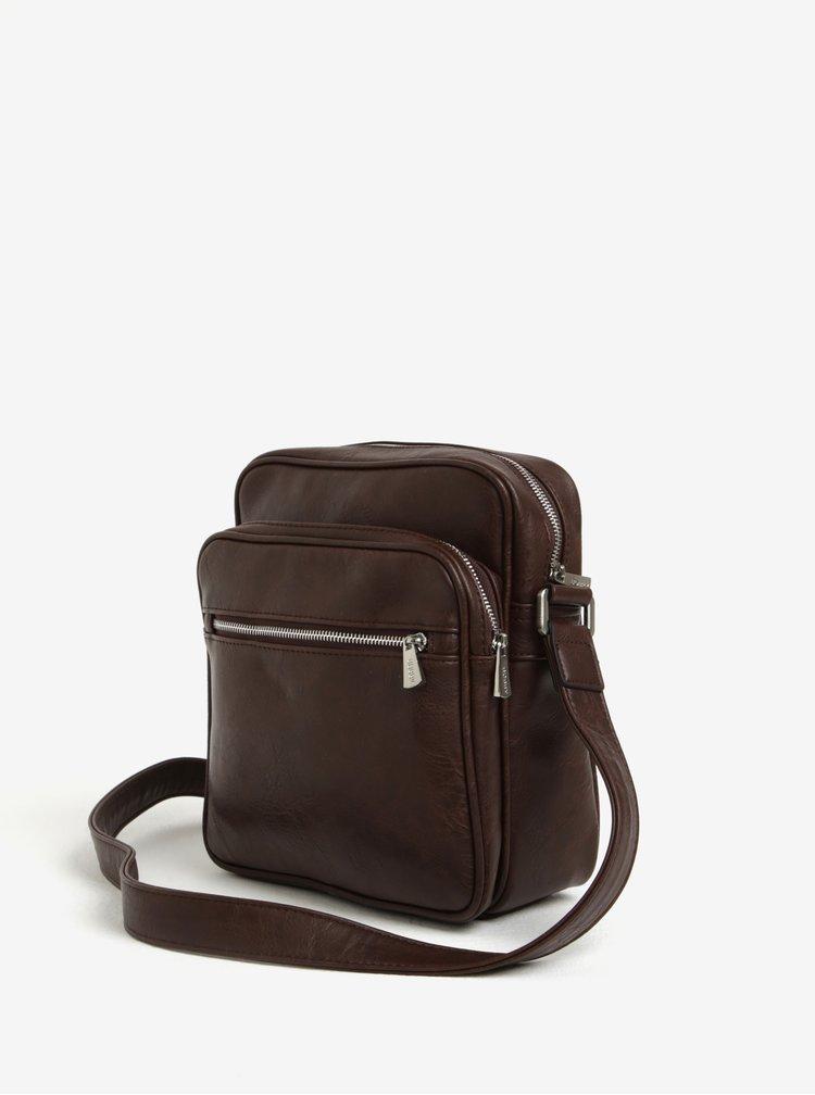 Tmavě hnědá malá crossbody taška s kapsou Bobby Black