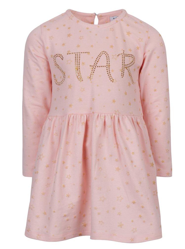 Růžové holčičí šaty s dlouhým rukávem a hvězdami 5.10.15.