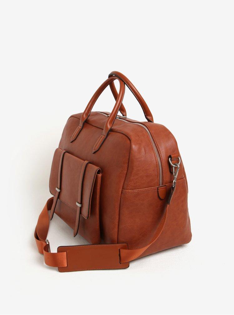 Hnědá cestovní taška s přední kapsou Bobby Black