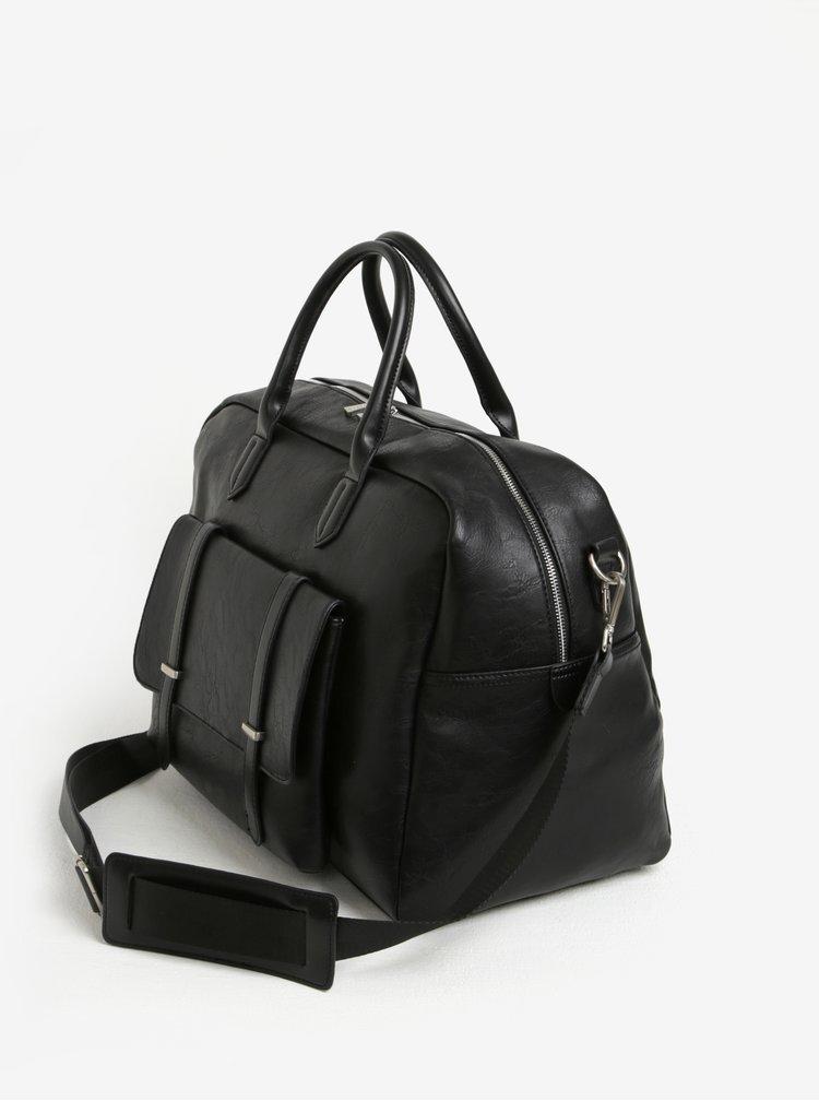 Černá cestovní taška s přední kapsou Bobby Black