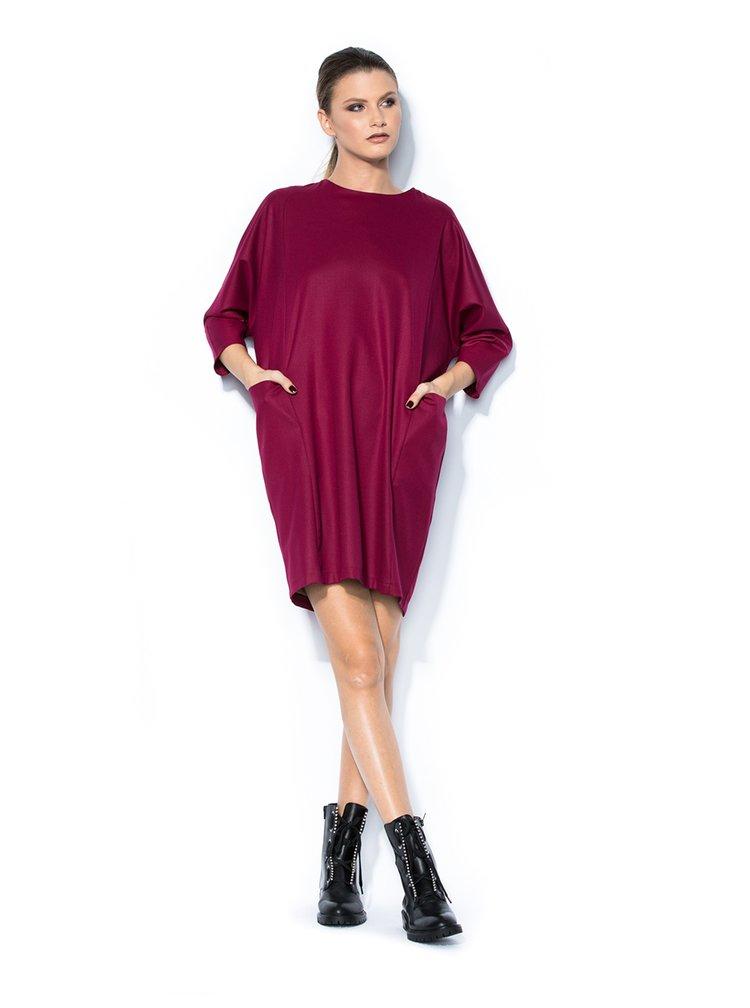 Fialové oversize šaty s netopýřími rukávy Bluzat
