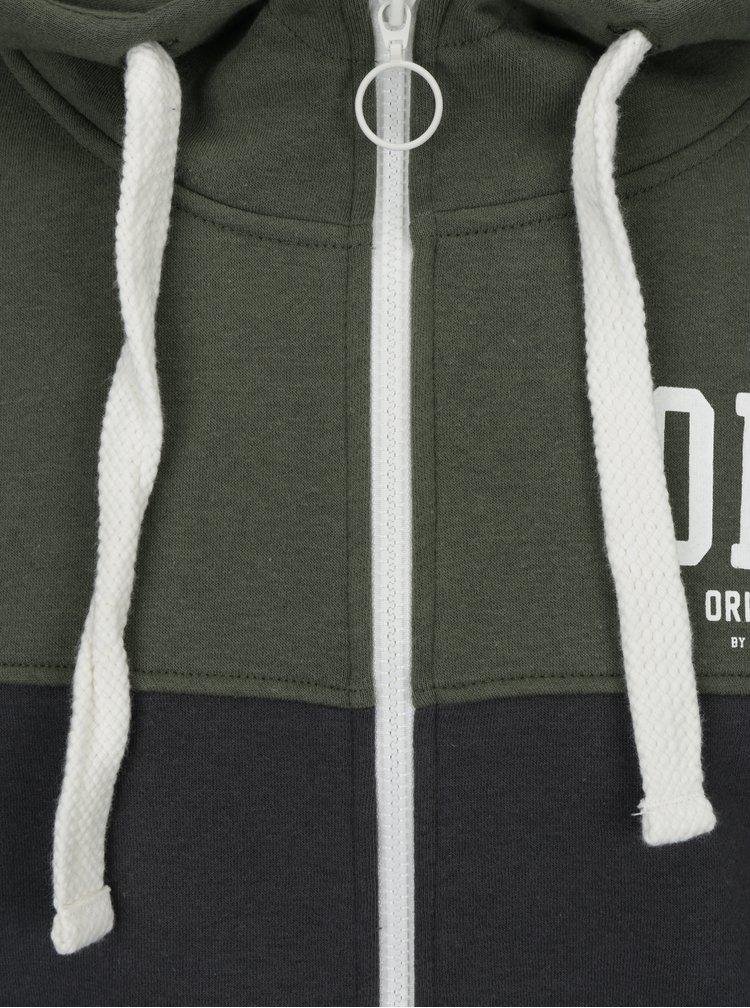 Zeleno-šedá mikina na zip s kapucí Jack & Jones New Damian