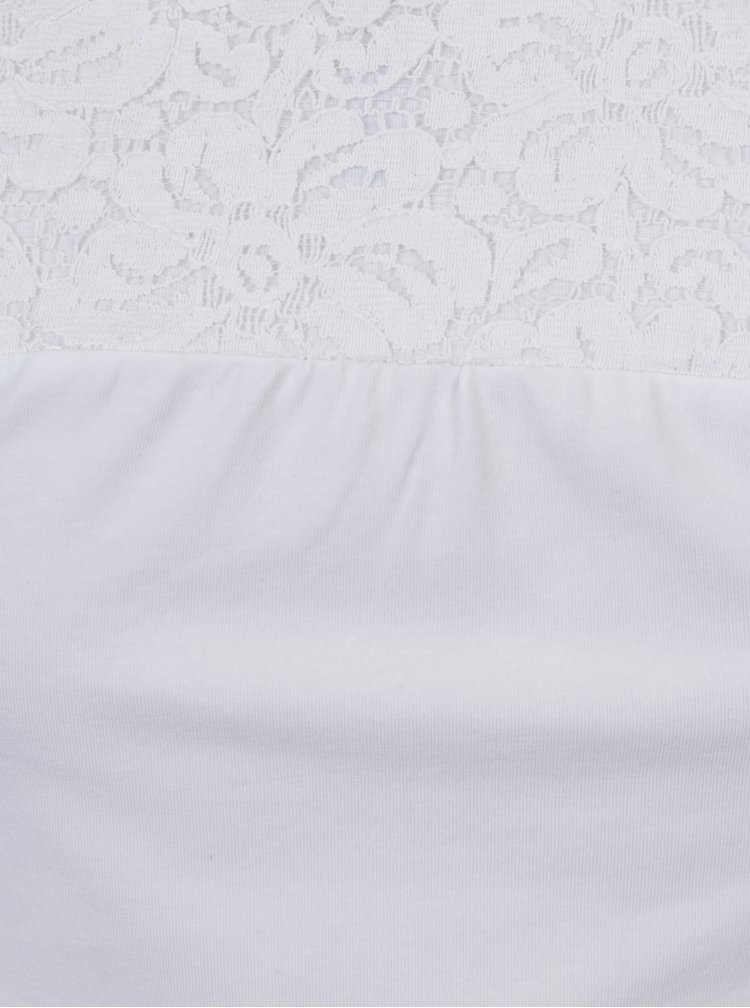 Bílé holčičí tričko s krajkou na ramenou 5.10.15.