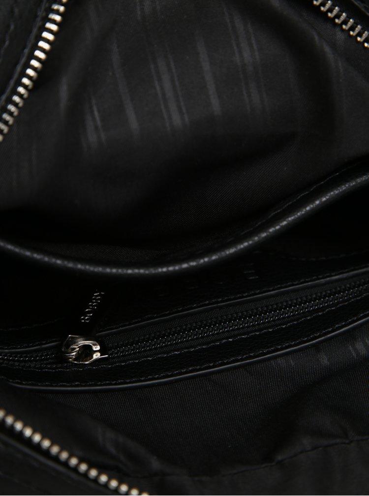 Geanta crossbody neagra cu detalii argintii pentru barbati - Bobby Black