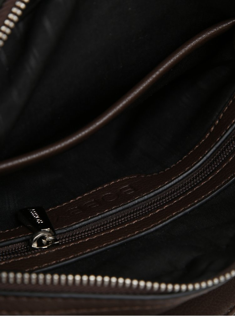 Geanta crossbody maro cu detalii argintii pentru barbati - Bobby Black