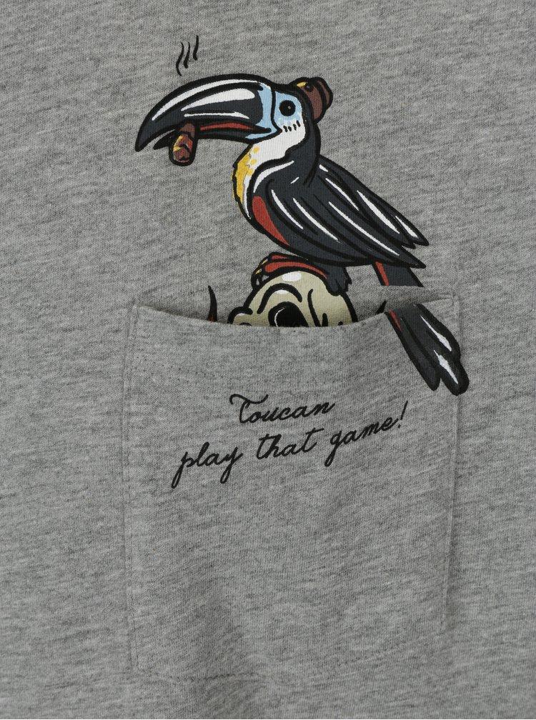 Světle šedé tričko s kapsou Jack & Jones Cheeky TEE