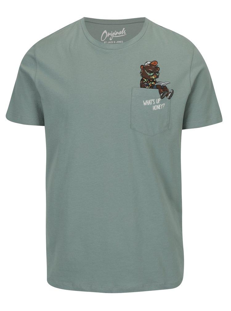 Tricou verde cu print haios si buzunar  Jack & Jones Cheeky TEE
