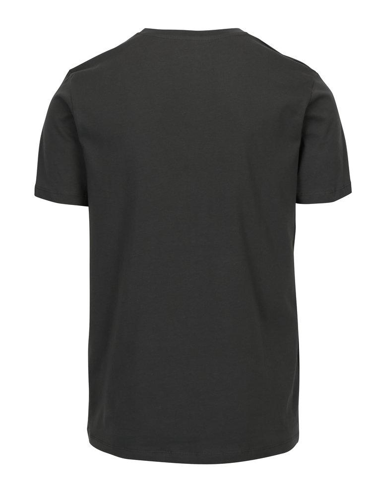 Tricou gri inchis cu print haios si buzunar Jack & Jones Cheeky TEE